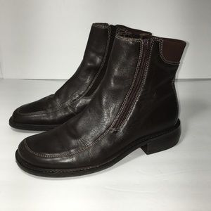 Nordstrom Brown Genuine Leather Ankle Zip up Boots